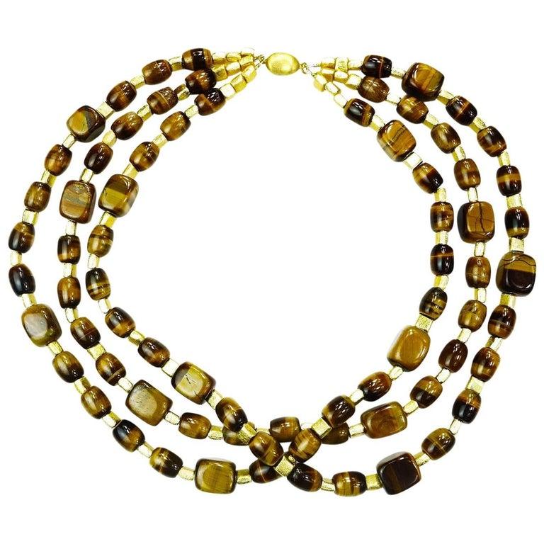 Triple Strand Chatoyant Tiger's Eye Necklace