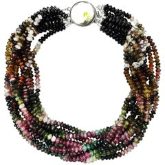 Multi-Color Ten-Strand Tourmaline Choker Necklace