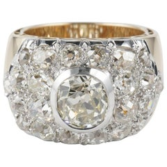 Art Deco Diamond Platinum Rose Gold Ring