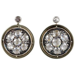 Victorian Rose Cut Diamond Cluster Earrings