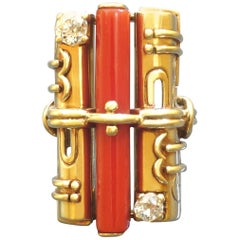 Otto Klein 1920s Art Deco Diamond Coral Gold Ring