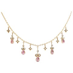 Delicate Antique Victorian Pink Tourmaline Pearl Gold Necklace