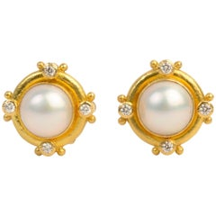 Elizabeth Locke Mabe Pearl and Diamond Earrings