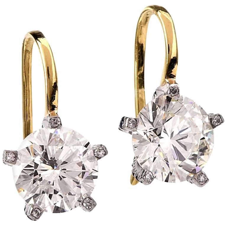 21st Century 6.48 Carat Round Diamond  Earrings