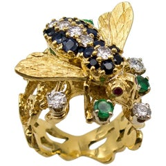 Rare Rosenthal Sapphire Emerald Diamond Gold Bee Ring