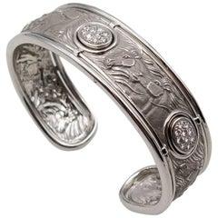 Rare Carrera y Carrera White Gold Diamond Equestrian Motif Cuff Bracelet