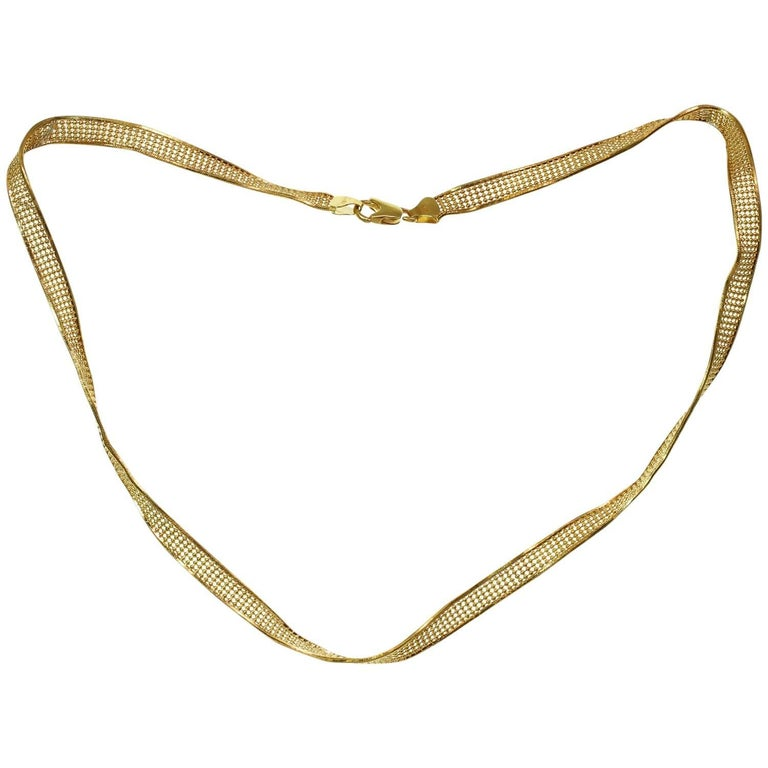 Yellow Gold Twisted Mesh Necklace For Sale