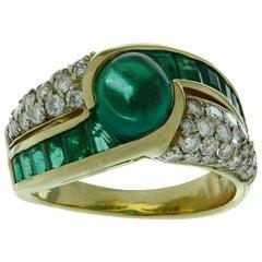 Emerald Diamond Yellow Gold Ring GIA