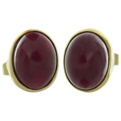Bullet-Cut Cabochon Ruby Yellow Gold Stud Earrings