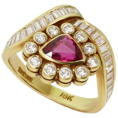 Diamond Ruby Triangle Yellow Gold Ring