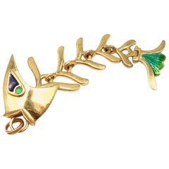 Enamel Emerald Fish Animated Gold Charm Pendant from Estate of Jackie Collins