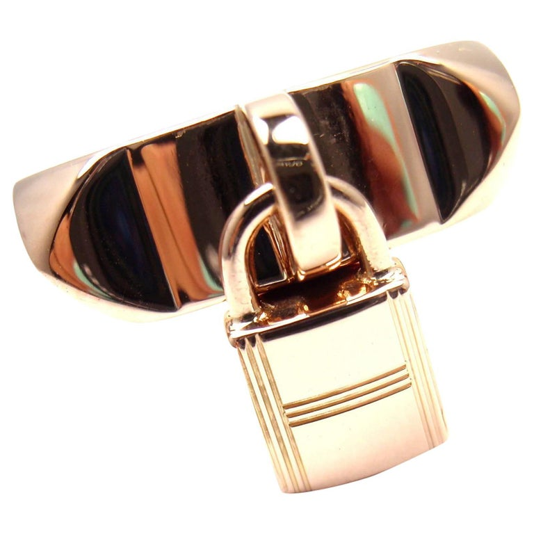 Hermes Collier De Chien Lock Rose Gold Band Ring