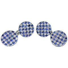 French Art Deco Diamond and Sapphire Cufflinks, circa 1935