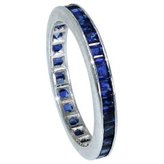 Sapphire and White Gold Eternity Band