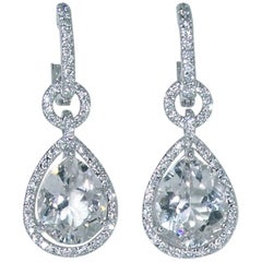 White Quartz Diamond Earrings