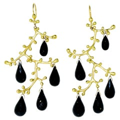 18 Karat and Onyx Briolette Earrings