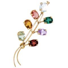 Antique Multi Gem and Gold Brooch, English, circa 1890