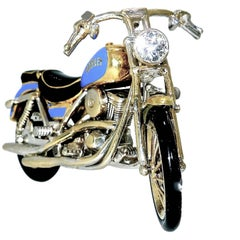Harley Motorcycle Brooch in 18 Karat with Diamonds and Ruby