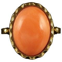 Antique Victorian 15 Carat Gold Coral Ring, circa 1900