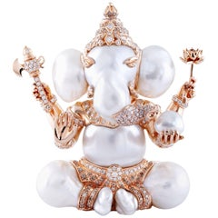 South Sea Pearl, Diamond, Lord Ganesha Pendant/Art Object