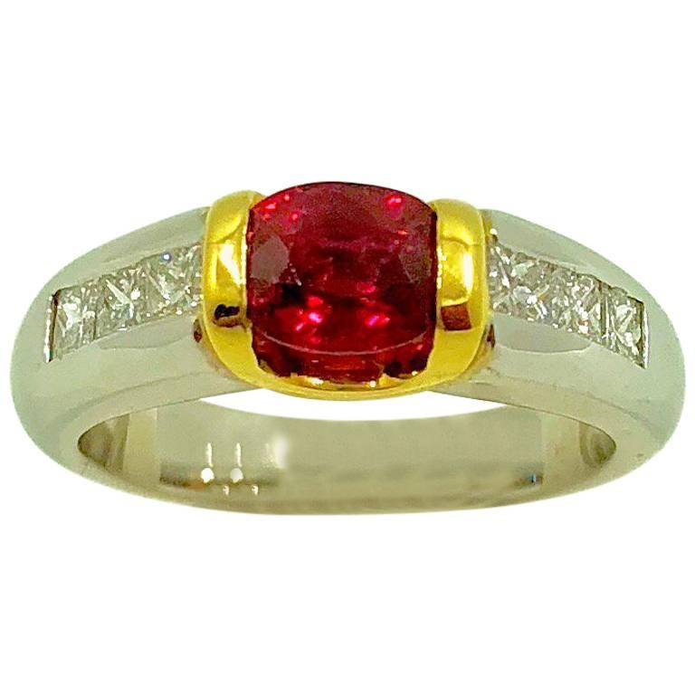G.Minner Unique Ruby Diamond Gold Ring