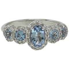 Luise Aquamarine and Diamonds White 18 Karat Gold Ring