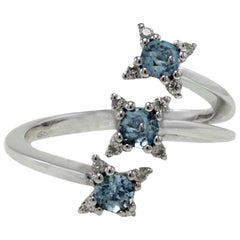 Luise Aquamarines and Diamonds Three Stones 18 Karat White Gold Ring