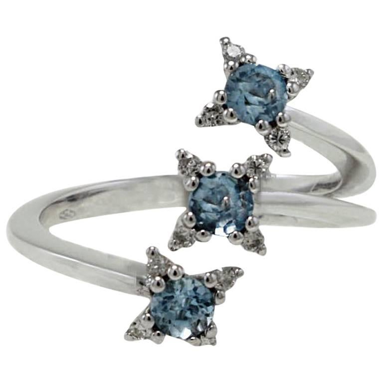 Aquamarines and Diamonds Three Stones 18 Karat White Gold Ring