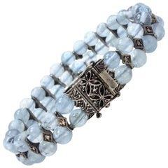 Luise Aquamarine Beaded and Diamonds Retro Rose Gold and Silver Bracelet