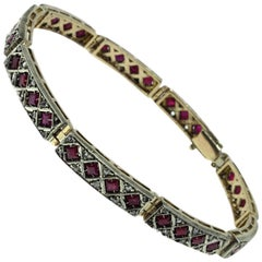 Luise Diamonds and Rubies Rose Gold and Silver Retro Bracelet