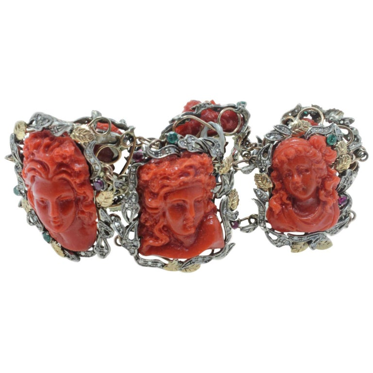 Coral Paste, Emeralds, Rubies and Rose Gold Retro Bracelet