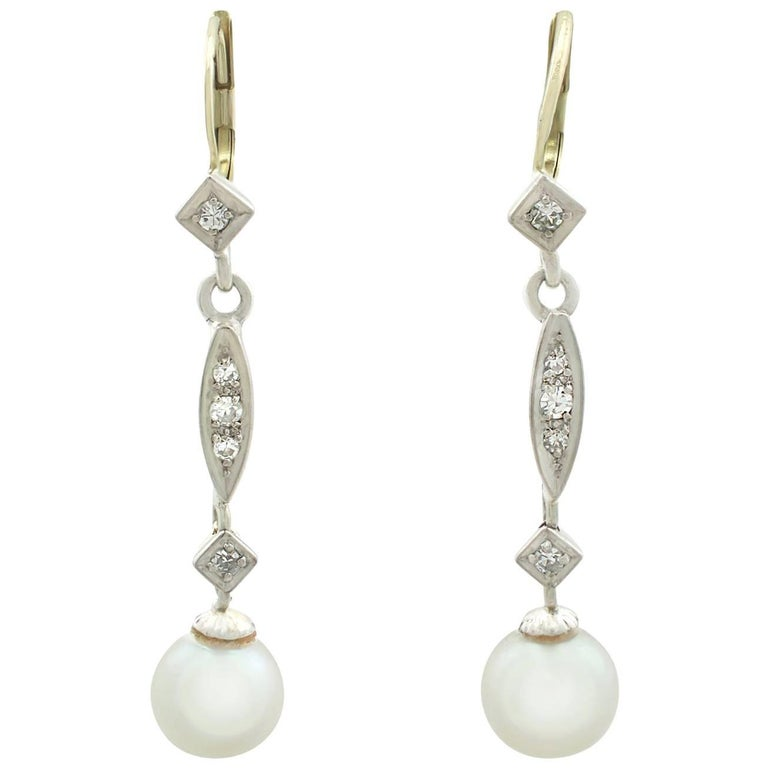 1940s Cultured Pearl and Diamond Yellow Gold Drop Earrings