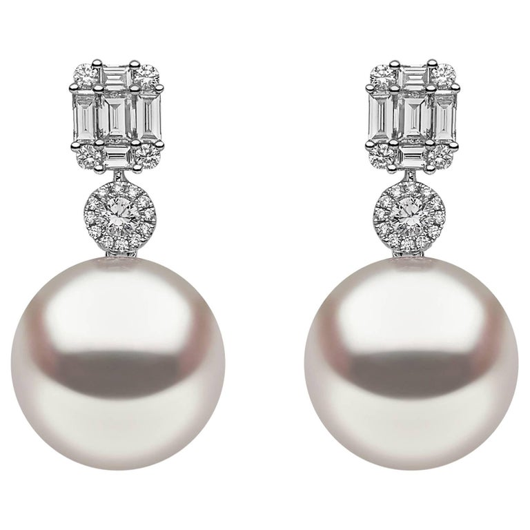 Yoko London South Sea Pearl Diamond Earrings For Sale