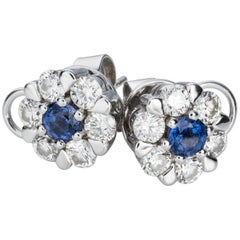 Sapphire Diamond Floral Cluster Stud Earrings