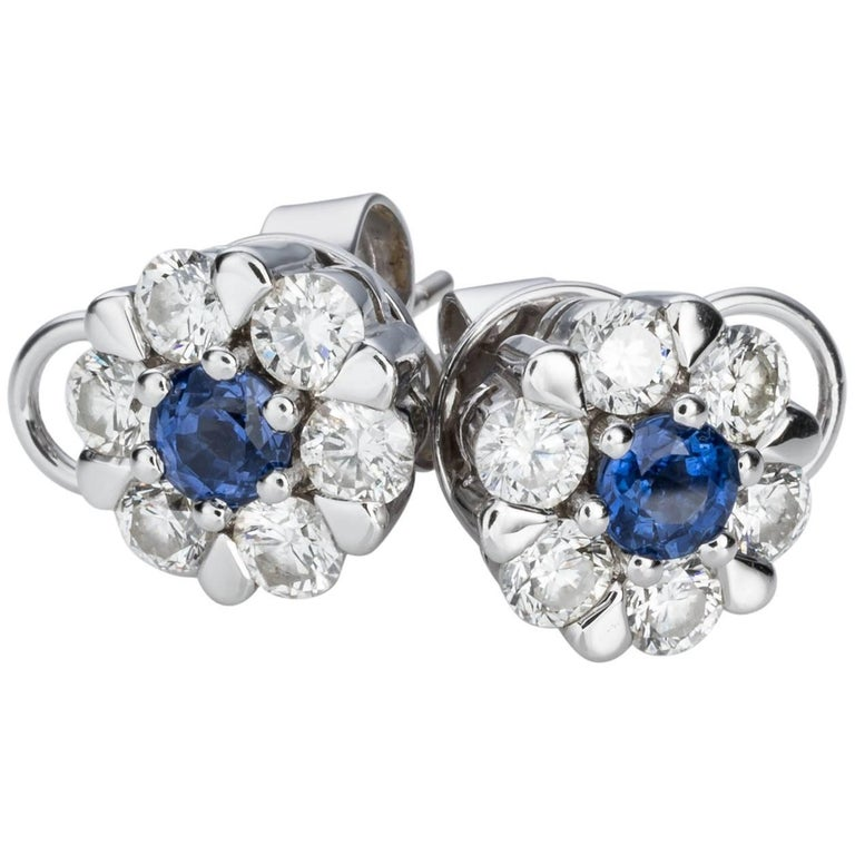 Sapphire Diamond Floral Cluster Stud Earrings