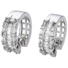 Baguette Diamond 18 Karat White Gold Huggie Style Earrings