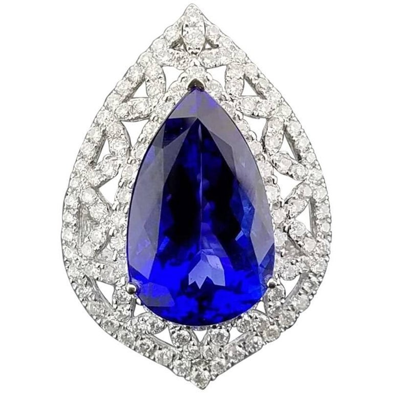Pear Shape Tanzanite and Diamond Cocktail Ring