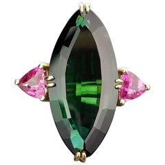 Green Tourmaline and Pink Sapphire Cocktail Ring