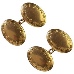 Antique Victorian Gold Cufflinks 15 Carat Double Cuffs, Birmingham, 1913