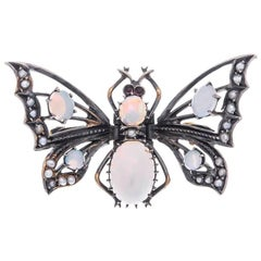 Victoria Silver Opal and Split Pearl Butterfly Brooch