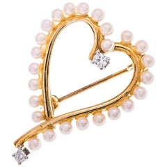 1980 9 Carat Gold Seed Pearl and Diamond Heart Shape Open Brooch