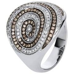Carlos Udozzo 18 Karat White Gold Men Ladies Brown Diamonds Statement Ring