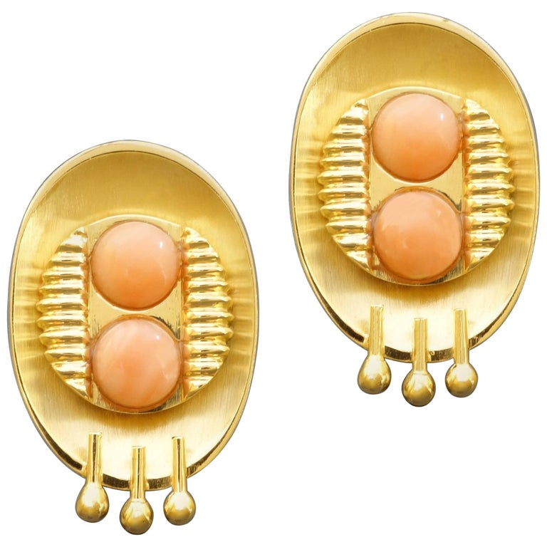 1990s Postmodernist Angel Skin Coral Gold Clip-On Earrings