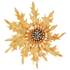 Buccellati 18 Karat Yellow, White & Rose Gold Vintage Thistle Brooch