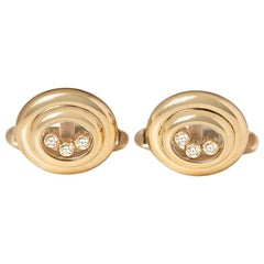 Chopard 18 Karat Yellow Gold Happy Diamonds Vintage Cufflinks