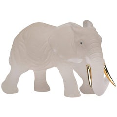Rockcrystal Elephant with 18 Carat Yellow Gold Tusks