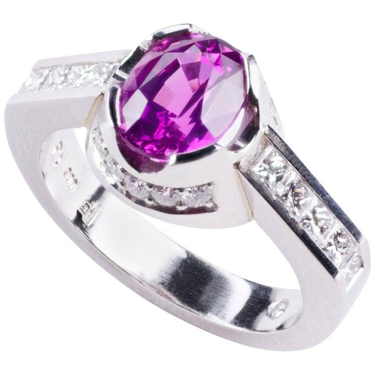 Platinum and Pink Sapphire Diamond Engagement Ring
