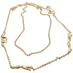 Cartier 6 Panther Panthere Long Link Yellow Gold Necklace