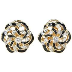 Diamond Black Enamel Gold Earrings