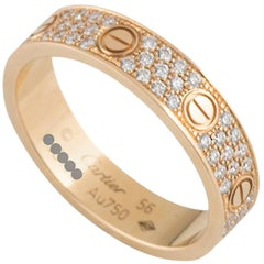 Cartier Rose Gold Pave Diamond Love Ring